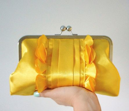 Custom Made Romantic Bridal And Bridesmaid Clutch Purse- Goldenrod Yellow