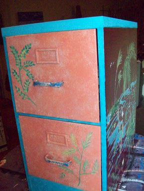 Custom Made Handpainted Metal File Cabinet With Palms
