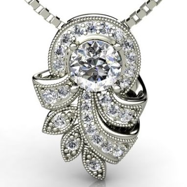 Custom Made Custom Vintage Style Pendant - Old European Cut Diamond