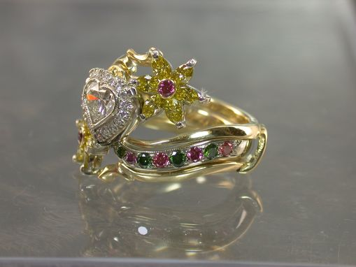 Custom Made I Request A Sunflower And Multi Gem Ring For My Wife (Abe)