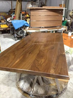 Custom Made Walnut And Steel Dining Table