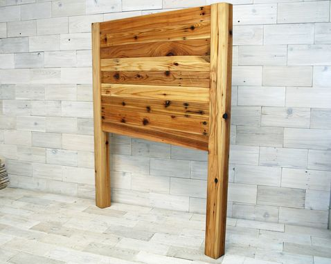 Custom Made Reclaimed Cedar Horizon Headboard With Posts