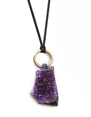 Custom Made Amethyst Necklace With Brass Ring & Leather Chord