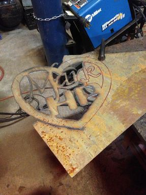 Custom Made Distressed Steel Heart With Names Wall Hanging