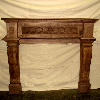 Custom Made Carved Walnut Mantel