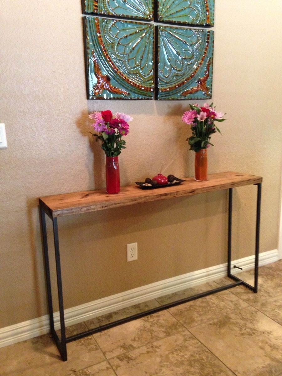 Hand Made Sofa Table Rustic Wood With Metal Frame By Made