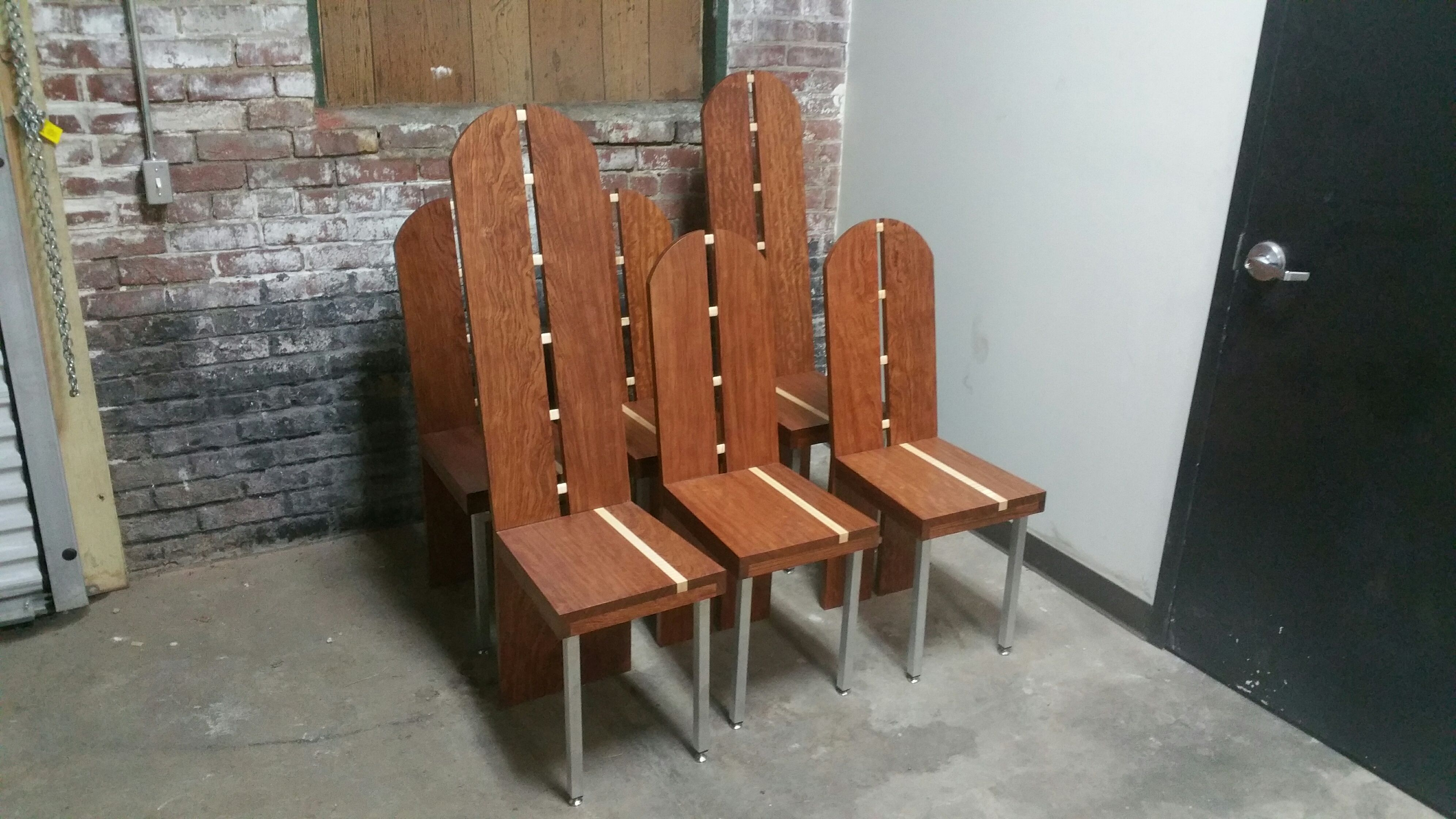 Custom Made Bubinga And Curly Maple Dining Chairs by Donald Mee