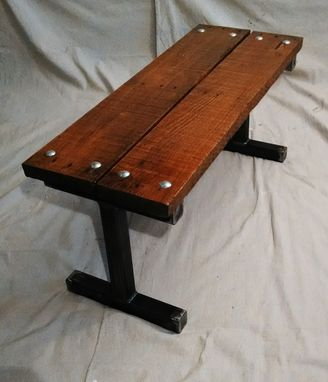 Custom Made Reclaimed Pallet Wood Bench With Carriage Bolts Frame