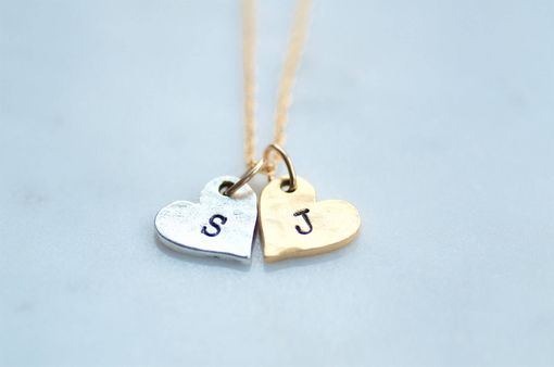 Custom Made Gold And Silver Hearts Initial Jewelry