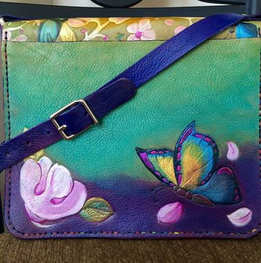 Custom Made Embossed Butterfly/Cherry Blossom Leather Messenger Bag