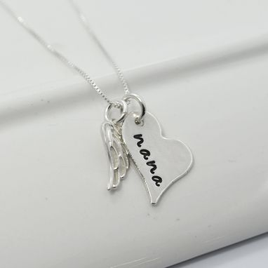 Custom Made Memory Necklace Personalized Heart With Wing