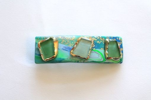 Custom Made Barrette, Hair Clip, Mint Green, Turquoise Shell, Gold, Stone Hairclip