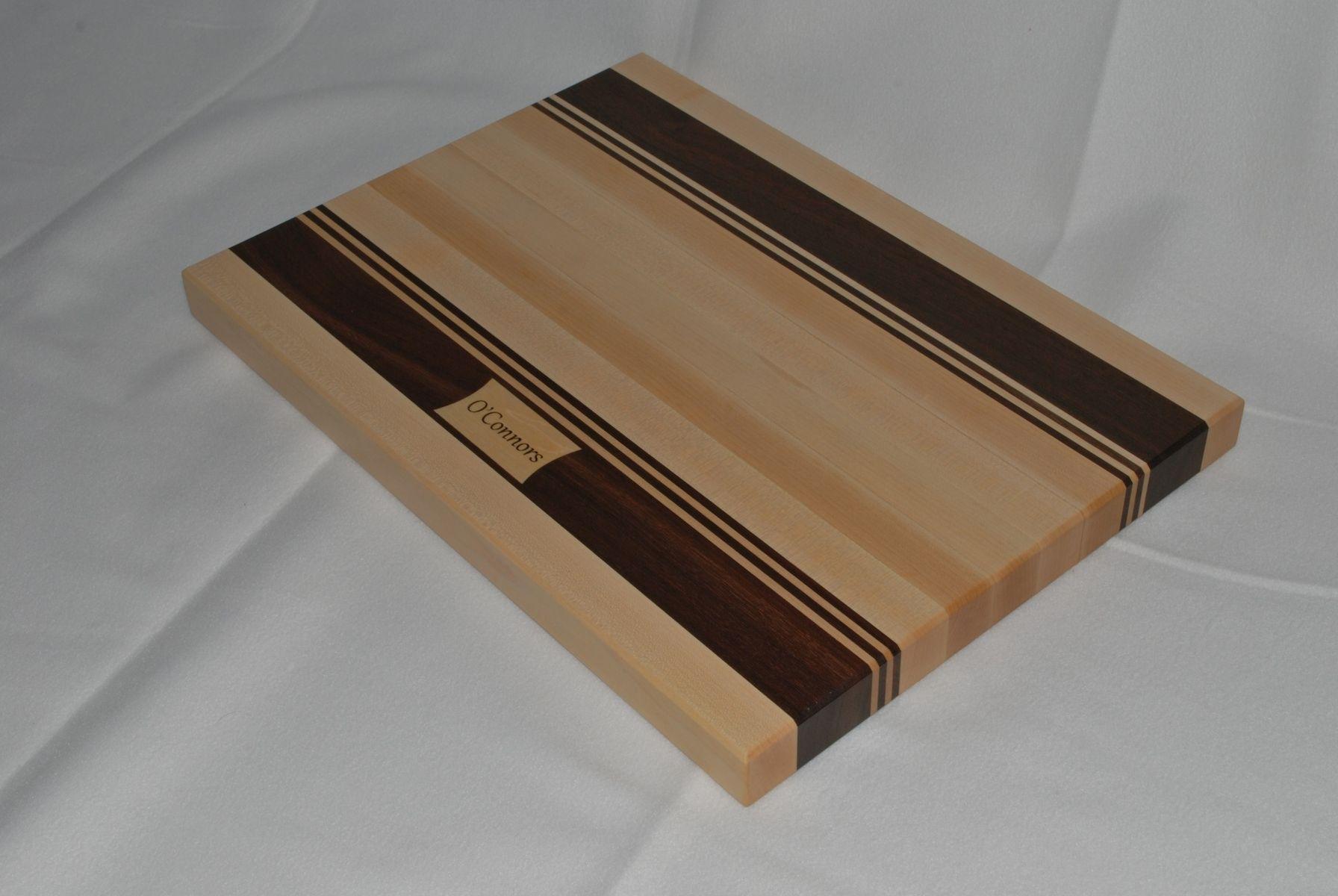 Custom made personalized maple walnut edge grain cutting