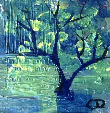 Custom Made Contemporary Modern Original Painting - Blue And Green Tree