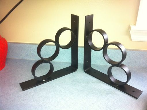 Custom Made 1 Pair Of Iron Shelf Brackets Supports With Rings