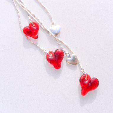 Custom Made Sterling Silver Necklace With Five Glass Heart Charms