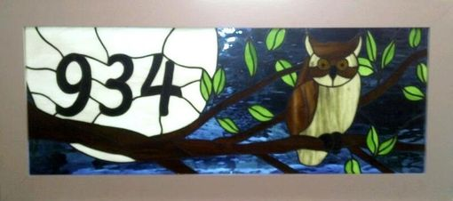 Custom Made Stained Glass Transom Window - Owl And The Moon  (Am-15)