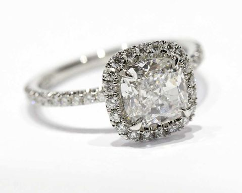 Custom Made Cushion Halo Diamond Engagement Ring In 950 Platinum