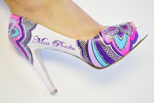 Custom Made Hand Painted Wedding Shoes - Bridal Shoes - Hand Painted Heels- Pink Flower Shoes