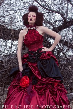Custom Made Crimson Rose Floral Edwardian Gown