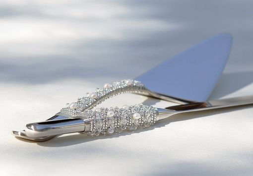 Custom Made Custom Wedding Cake Server And Knife Set  In Swarovski Crystals, Fresh Water Pearls, Glass Beads