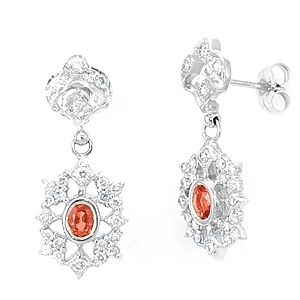 Custom Made Orange Sapphire And Diamond Dangling Earrings