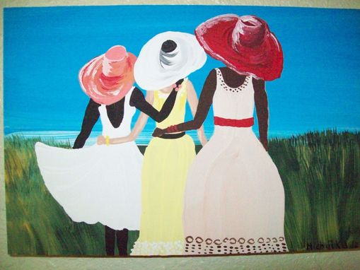 "Custom Made Original Painting On Masonite Board Titled: ""Three Friends"""