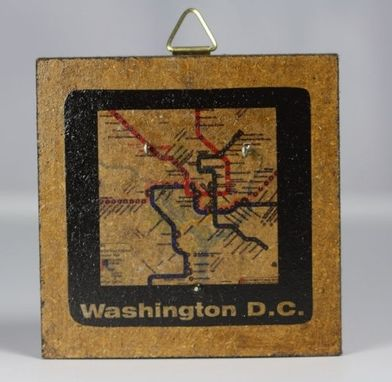 Custom Made Subway Map Brooch, Washington D.C. (Aquamarine)