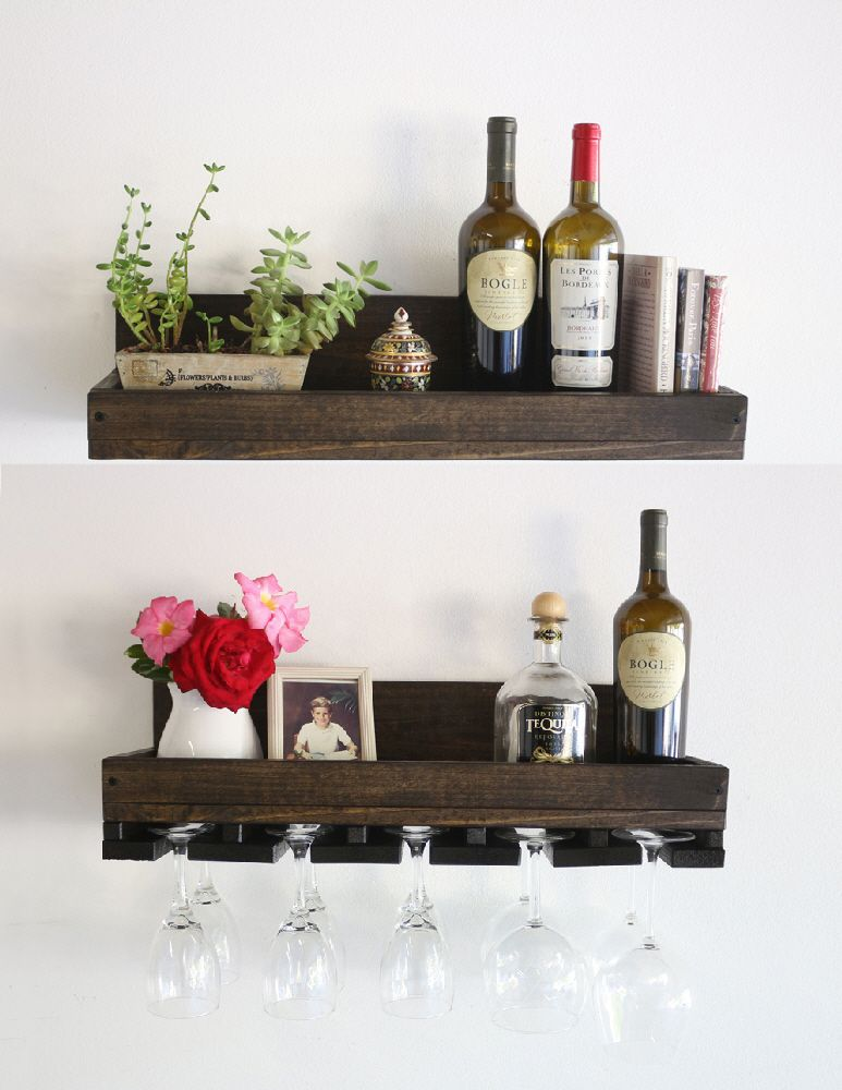 Buy A Handmade Custom Wood Wine Rack Shelf Hanging Stemware