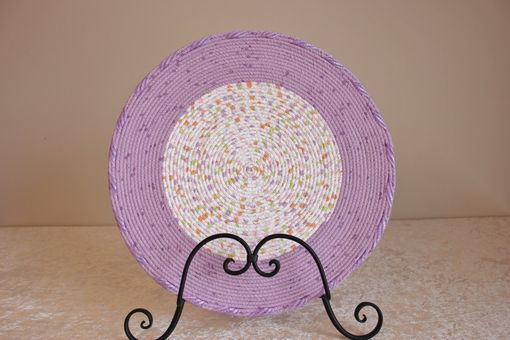 Custom Made Center Piece - Table Decor - Fabric Art - Table Topper - Fabric Wrapped Clothesline. Purples.