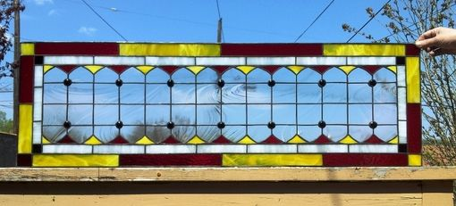 Custom Made Original Stained Glass Transom Window 3 (Maryland Flag Colors) - (Tw-195)