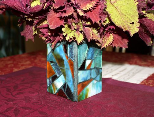 Custom Made Glass Candle Holder, Mosaic Beach Jar Candle Holder /Vase/ Pencil Holder