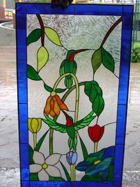Custom Made Resting Hummingbird & Flowers Stained Glass Window