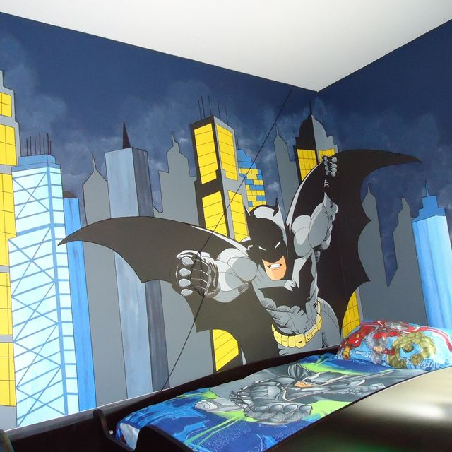 Custom Gotham City And Batman Control Room Mural by Kid Murals by ...