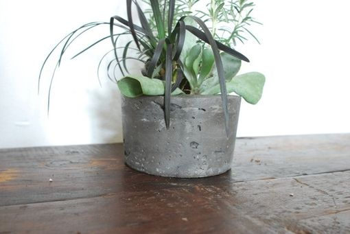 Custom Made Charcoal Colored Concrete Succulent Planter- Succulent Holder - Concrete Pot