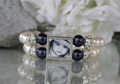 Custom Made Photo Bracelet With Midnight Blue And White Pearls For Mother Of The Bride