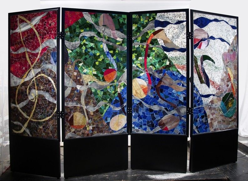 Custom Glass Mosaic Screen Room Divider by David L Zvanut Fine Art