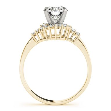 Custom Made Modern 14k Yellow Gold And Diamond Engagement Ring Set 1/4ct