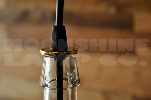 Custom Made Clear Wine Bottle Hanging Pendant Lamp