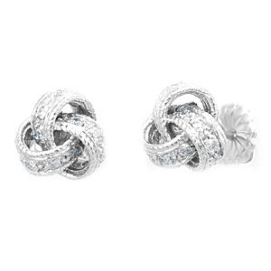 Custom Made Diamond Twist Stud Earrings, 14k White Gold Stud Earrings, Ladies Earrings