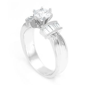 Custom Made Baguette Diamond Engagement Ring In 14k White Gold, Proposal Ring, Ladies Ring