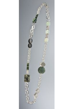 Custom Made Necklace - Sterling Silver, Crysoprase, Keshi Pearls, African Turquoise, Black Mother Of Pearl