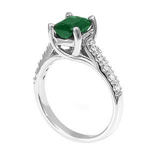 Custom Made Emerald Diamond Ring In 14k White Gold, Emerald Engagement Ring, Diamond Ring