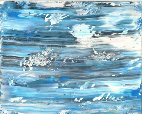 "Custom Made Abstract Acrylic Painting On White Mat ""Winter Blue''"