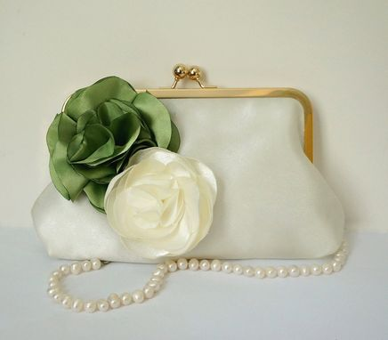 Custom Made Green Clutch Purse With Handmade Flower Accent