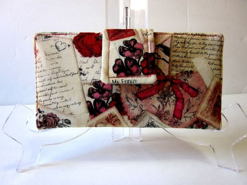 Custom Made Handmade Wallet My Antique Love Flowers And Love Letters.