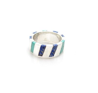 Custom Made Inlay Ring - Turquoise Inlay Ring - Lapiz Inlay Ring - Sterling Silver Ring Inlay