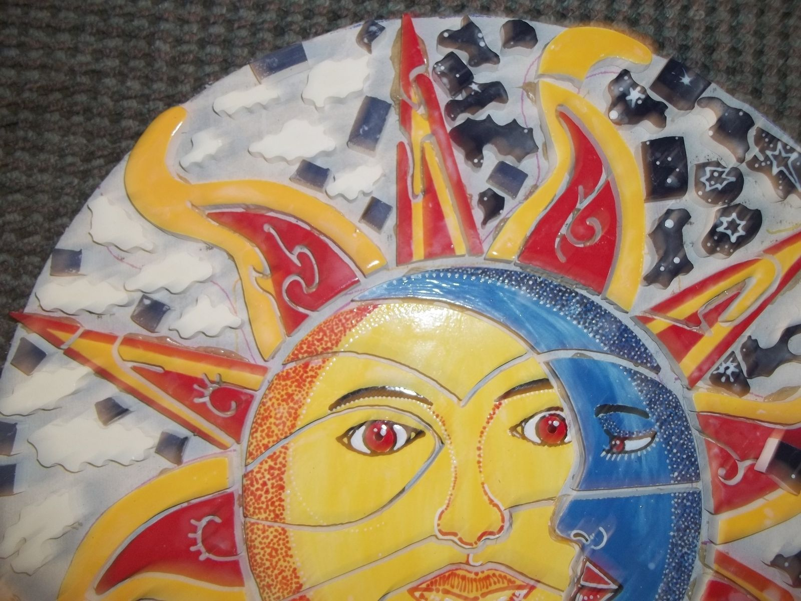 Hand Made Ceramic Tile Hand Painted Mural Sun And Moon by ...