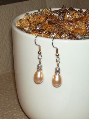 Custom Made Peach & Light Gray Swarovski Pearl Earrings With Swarovski Crystal Rondelles In Gold