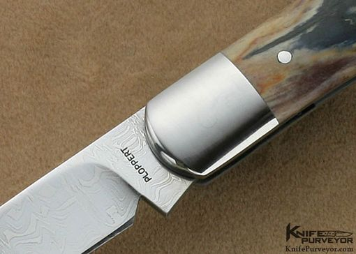 Custom Made Tom Ploppert Custom Knife Chad Nichols Carbon Damascus & Mammoth Ivory Wharncliff Trapper